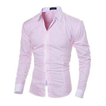 Men's fashion casual solid color long-sleeved shirt Slim pink - Intl - 2