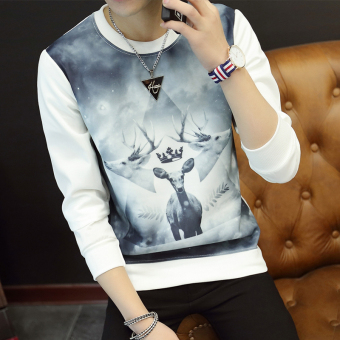 Men's Fashionable Slim Fit Round Neck Long Sleeve Shirt (Three head deer white)
