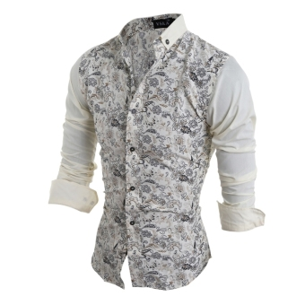 Men's Floral Print Long Sleeve Turn-down Collar POLO Shirt - 3