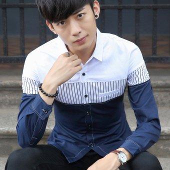 Men's Korean Long Sleeve Cotton?outdoor Casual Button-Down Shirts White - 3