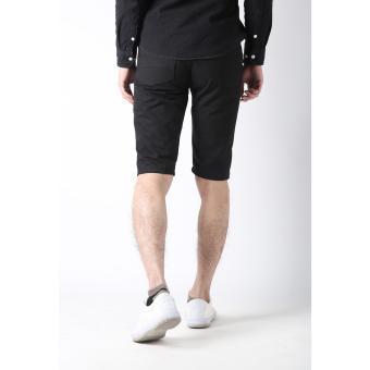 Men's Korean Style Casual Simple Plain Short (Black) - 4