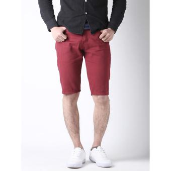 Men's Korean Style Casual Simple Plain Short (Claret)