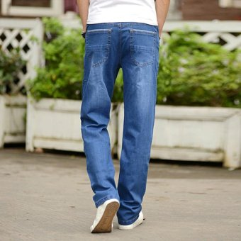 Men's Loose Straight Jeans Fat Legging Plus Size Thin Denim Pants Large Men Jeans Waist 42 44 Plus Size Jeans - intl - 4