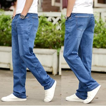 Men's Loose Straight Jeans Fat Legging Plus Size Thin Denim Pants Large Men Jeans Waist 42 44 Plus Size Jeans - intl - 3