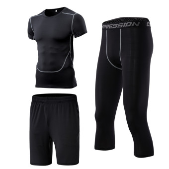 Men's Running Training Short Sleeve Quick Dry 3-piece Set (3 sets of Capri pants)
