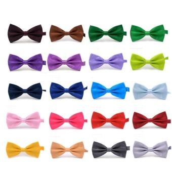 Men's Adjustable Wedding Party Bow Tie Solid Color Pre-Tied Bowtie Neckwear Navy Blue - intl - 2