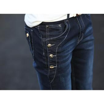 Men's Buttons Design Denim Jeans (Dark) - 5