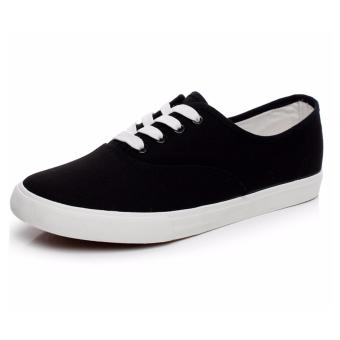 Men's Canvas Shoes Sneakers With Lace - Black - 3