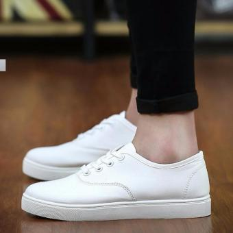 Men's Canvas Shoes Sneakers With Lace - White - 2