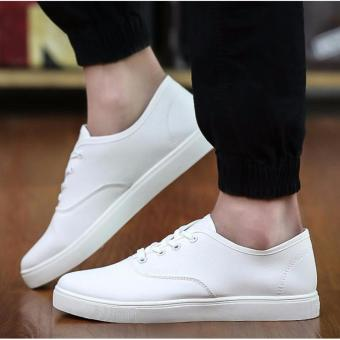 Men's Casual Canvas Sneakers with Lace - White