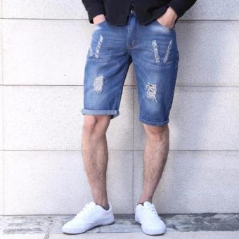 Men's Class Denim short With V Tattered Design - 3