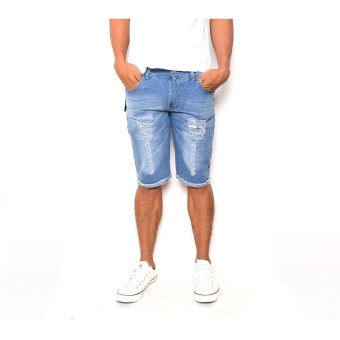 Men's Cool Ripped Light Blue Denim Short