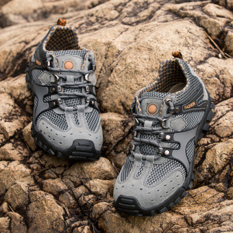 Mens Durable Hiking Shoes Mountain Climbling Shoes Super BreathableTrekking Shoes Outdoor Sports Shoes Grey - 3