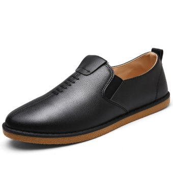 Men's Fashion British Style PU Leather Shoes-Black - intl Price Philippines