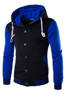 Mens Hoodie Drawstring Baseball Jacket (Black/Blue) (Intl) | Lazada PH