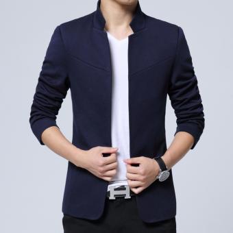 Men's Korean style Slim Fit Mandarin Collar Suit Jacket Male BrandCasual Cotton Suit Blazer Coat Outwear-Blue - intl - 3
