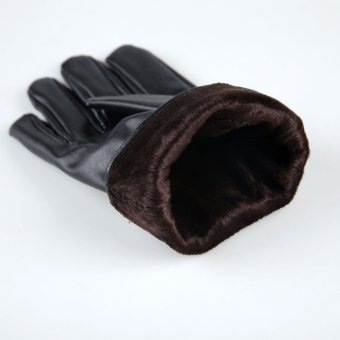 Mens Luxurious Leather Winter Super Driving Warm Gloves Cashmere Black - 3