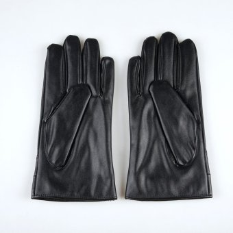 Mens Luxurious Leather Winter Super Driving Warm Gloves Cashmere Black - 4