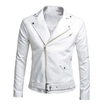 Mens Motorcycle Slim PU Leather Jackets (White) - intl