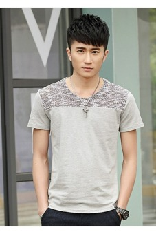 Mens New Fashion Cotton T-shirt (Gray)