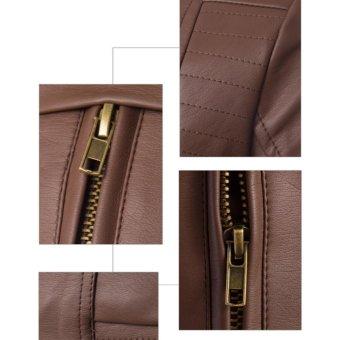 Men's PU Leather Casual Slim Jacket Fashionable Jacket(Black) -intl - 3