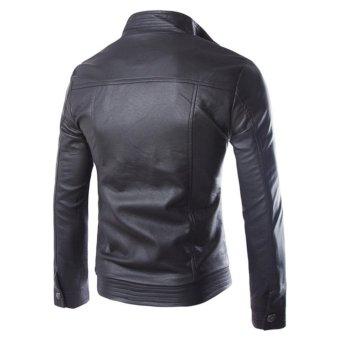 Men's PU Leather Casual Slim Jacket Fashionable Jacket(Black) -intl - 2