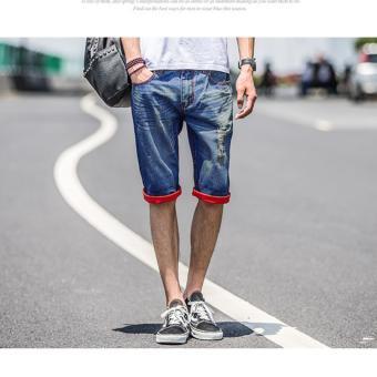 Men's Red Folded Leg Denim Ripped Short - 3