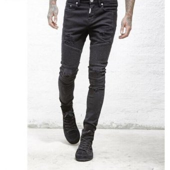 Mens Ripped Rider Biker Jeans Motorcycle Slim Fit Washed Moto Denim Pants -BLACK - 3