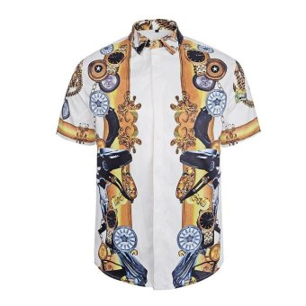 Mens Short Sleeve Floral Dress Hawaiian Shirts - intl