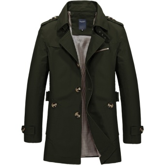 Men's Single Breasted Trench Jackets & Coats - Army Green -intl
