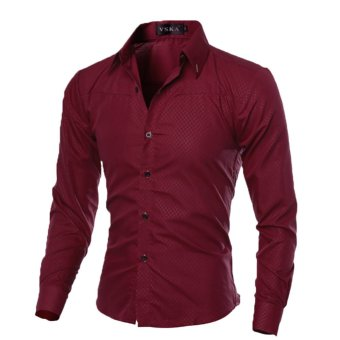 Mens Slim Long Sleeve Dress Shirts(Wine Red)