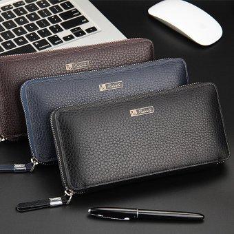 Mens Solid High-grade Leather Zipper Wallet Male Business Clutch Purse Cellphone Bag Blue - Intl - 3