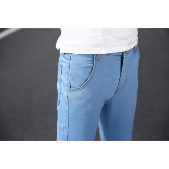 Men's Street Swaggy Plain Light Blue Jeans - 4