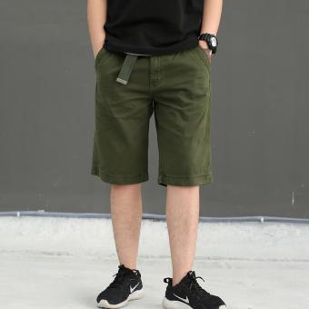 Men's Summer Four Pocket Cargo Short with belt (ARMY GREEN) - 4