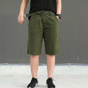 Men's Summer Four Pocket Cargo Short with belt (ARMY GREEN) - 2