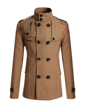 Men's Trench Coat Winter Warm Long Jacket Double Breasted ThickWindbreake - Tan - intl