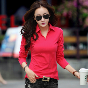 Mibeini Korean-style cotton Slim fit female polo shirt Women's bottoming shirt (Watermelon Red)