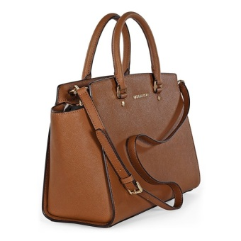 Michael Kors Large Selma Top-Zip Saffiano Satchel Bag (Brown) - 2