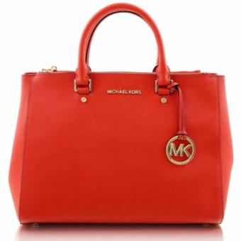 Michael Kors Medium Sutton Saffiano Leather Dressy Satchel-Red