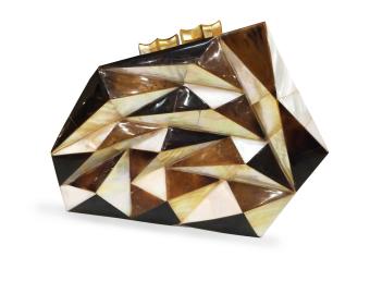 Mika and Gela Ava Shell Clutch Bag (Black/Brown/White)