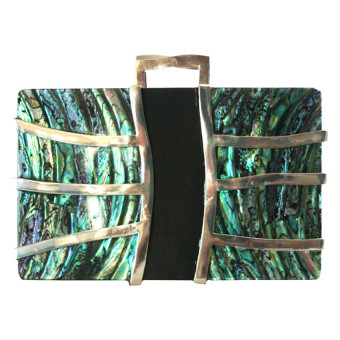 Mika and Gela Lena Clutch Bag (Green / Black / Silver)
