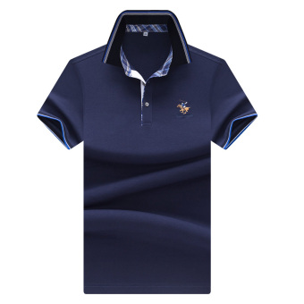 Mingshu cotton solid color men Fold-down collar polo shirt mercerized cotton short sleeved t-shirt (Dark blue color (to send exquisite laundry bag a parts))