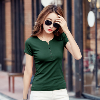 MM female Slim fit Short sleeve bottoming shirt solid color short-sleeved t-shirt (Dark green color)