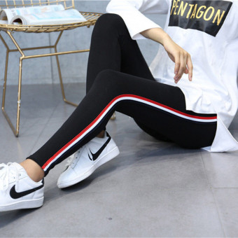 MM Korean-style cotton female outerwear ankle-length pants leggings (Cotton side striped black)