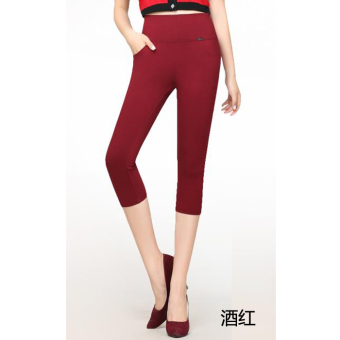 MM Plus-sized high-waisted outerwear Capri Pants mom pants (Wine red color) (Wine red color)