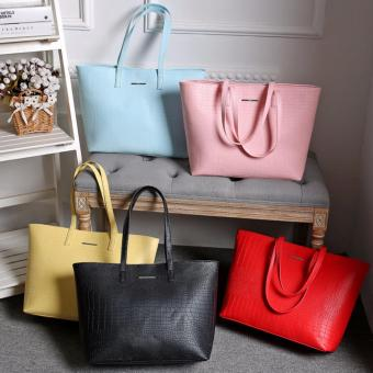 MNG Mango Croco Shopper Tote Bag (Yellow) - 4