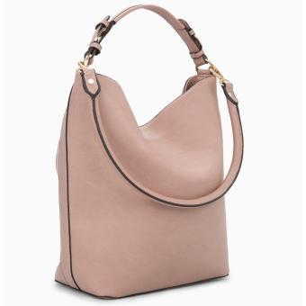 MNG Mango Pebbled Crescent Hobo Bag (Beige) - 3
