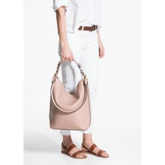 MNG Mango Pebbled Crescent Hobo Bag (Beige) - 4