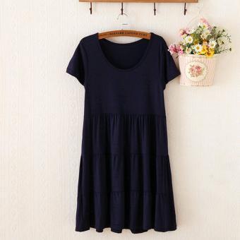 Modal Fashion Formal Maternity Short-sleeved Cake Dresses BiggerSizes Pregnant Woman Unlined Upper Garment Skirt Free Size SapphireBlue - intl - 2