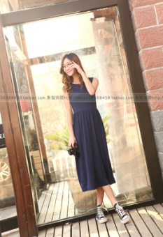 Modal loose thin long paragraph beach dress sling base skirt (Dark blue color)